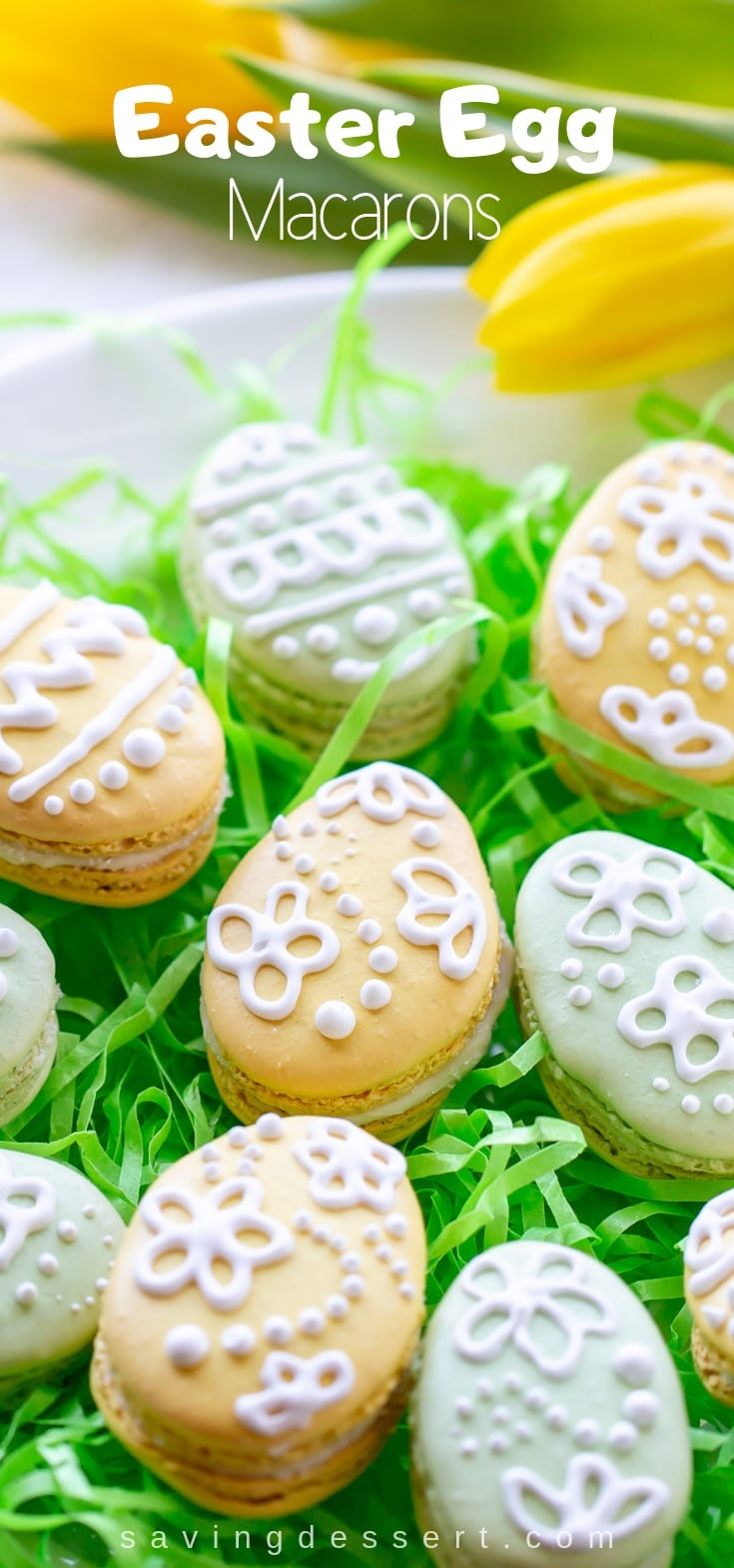 Easter Egg Macarons with White Chocolate-Mint Ganache #easter #macarons #eastereggmacarons #eastereggcookies #cookies #meringuecookie #macaron #holiday #decoratedmacarons