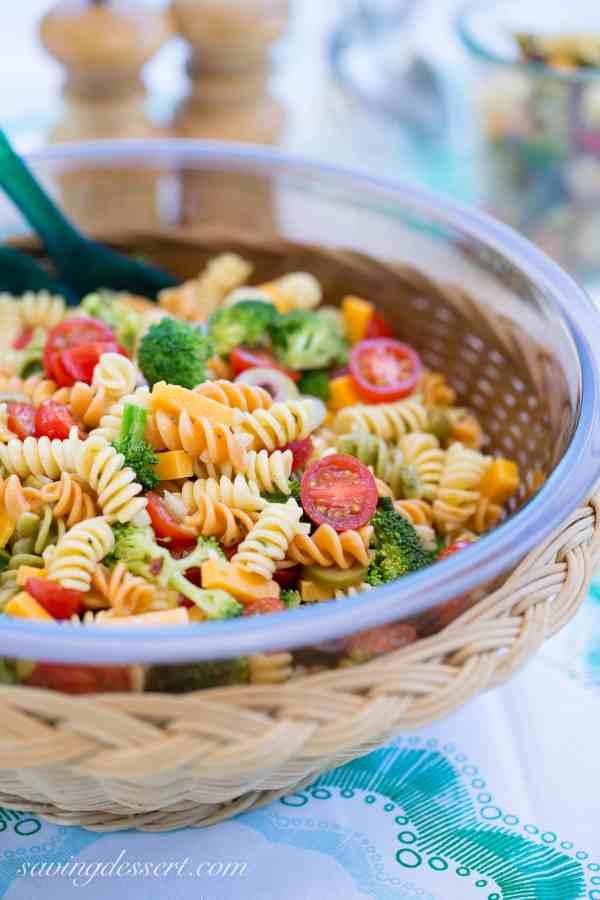 Easy Pasta Salad with Zesty Italian Dressing Saving Room