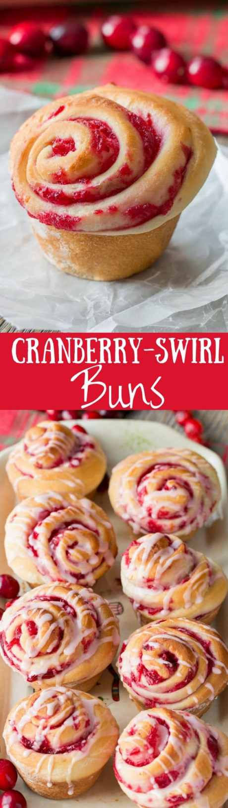 Cranberry Swirl Buns - soft almond scented yeast buns swirled with a fresh cranberry filling then topped with a simple drizzle of fresh orange juice mixed with confectioners' sugar | www.savingdessert.com