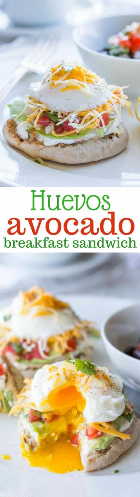 Huevos Avocado with Pico de Gallo - a terrific breakfast sandwich loaded with fresh pico de gallo, cheese, and perfect poached eggs. www.savingdessert.com