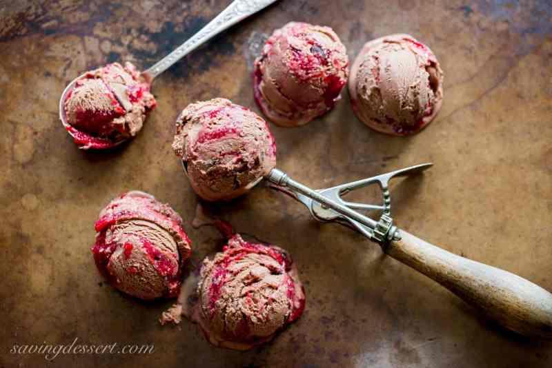 Chocolate Chocolate Chunk-Raspberry Swirl Ice Cream
