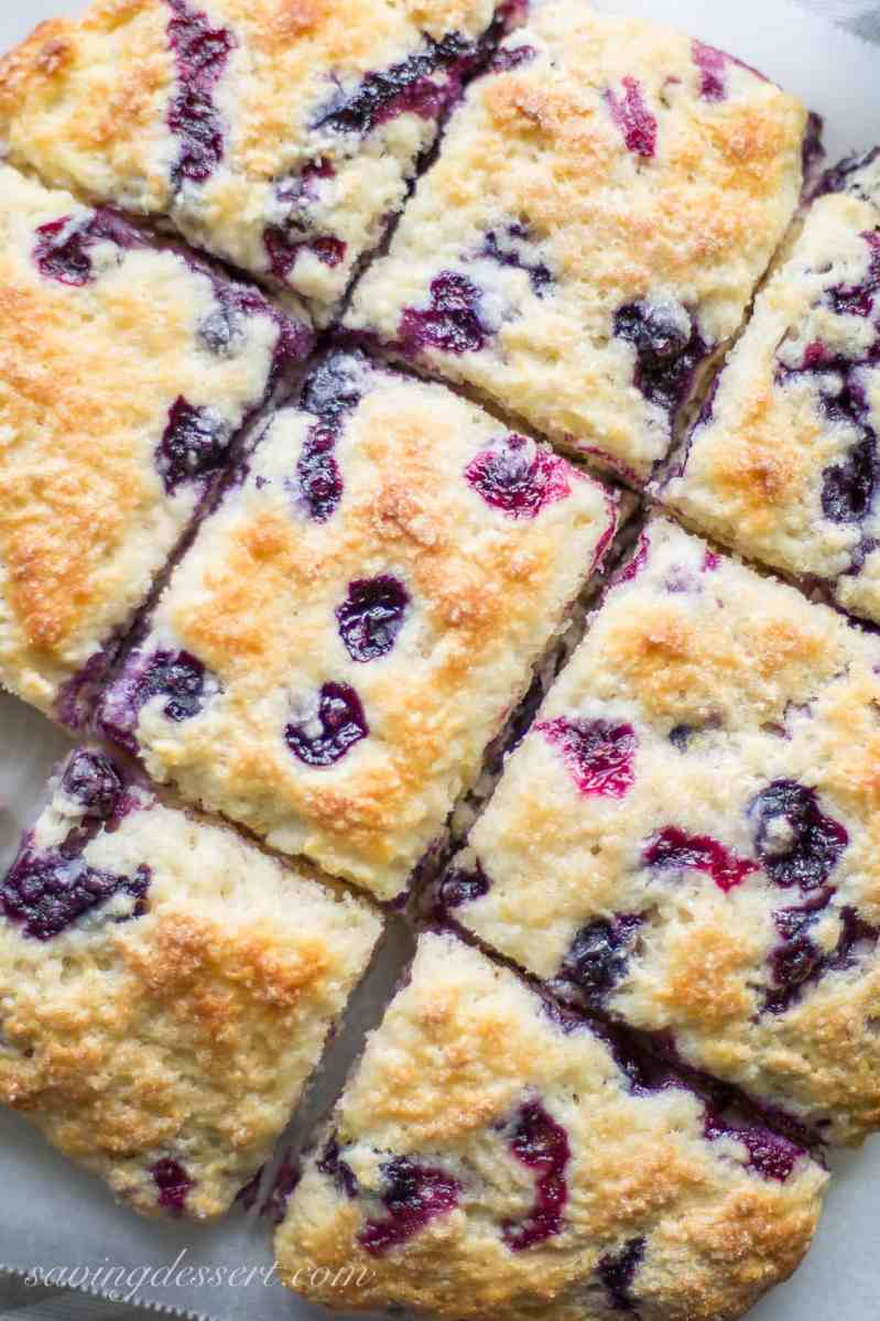 Blueberry Buttermilk Biscuits with a warm Blueberry Sauce