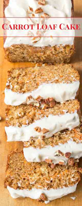 Carrot Loaf Cake - a deliciously moist cake loaded with fresh grated carrots and crushed pineapple, all topped off with a silky smooth cream cheese icing | www.savingdessert.com