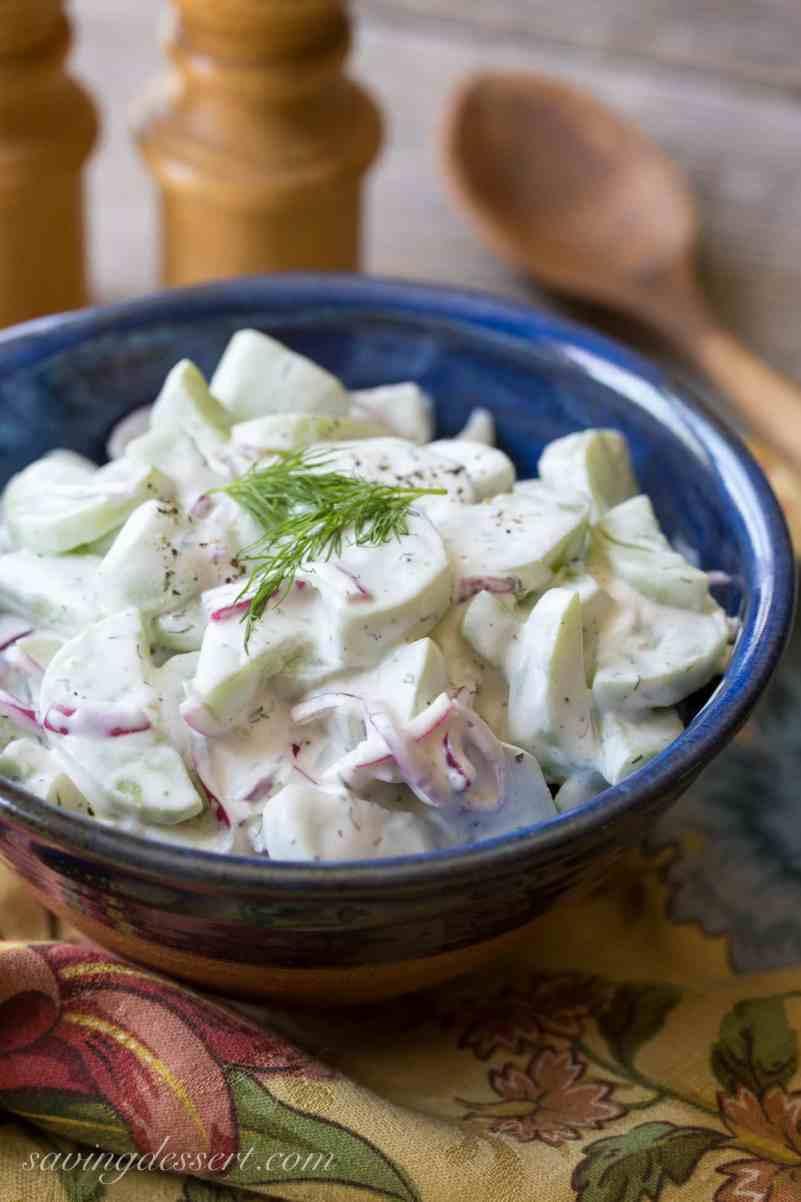 Crispy, Cold Cucumber Salad with fresh dill | www.savingdessert.com