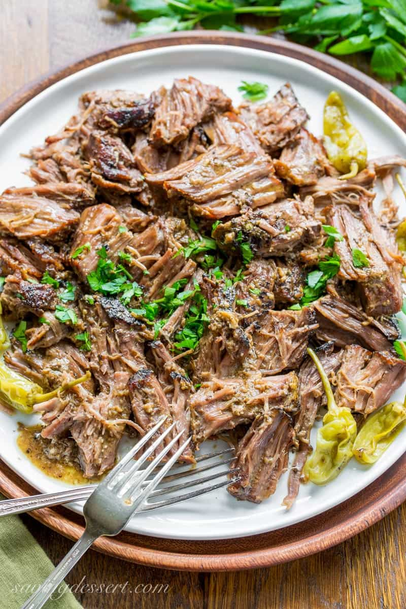 A platter of Mississippi Pot Roast with peppers