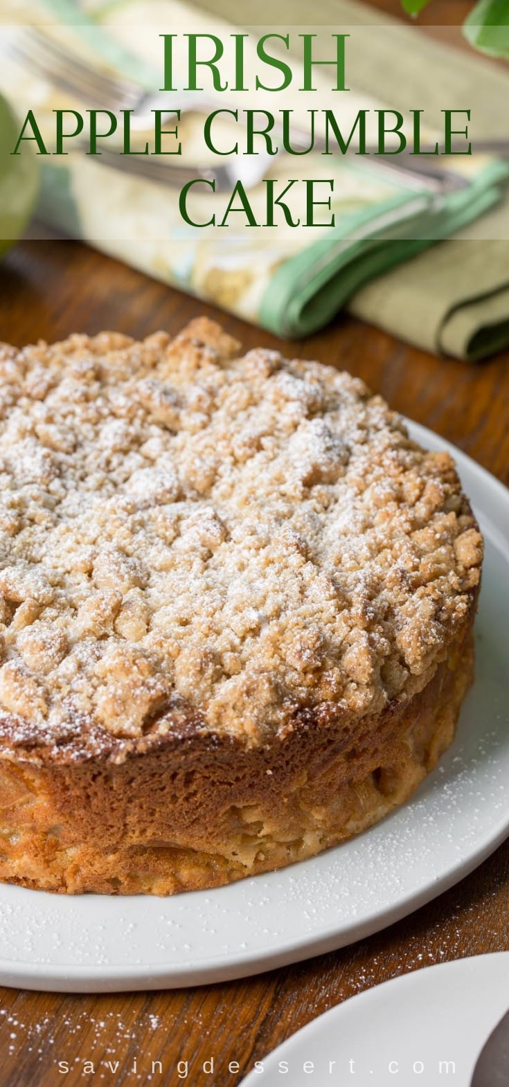 An Irish Apple Crumble Cake dusted with powdered sugar