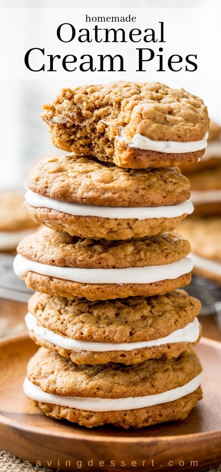 A stack of homemade Oatmeal cream pies