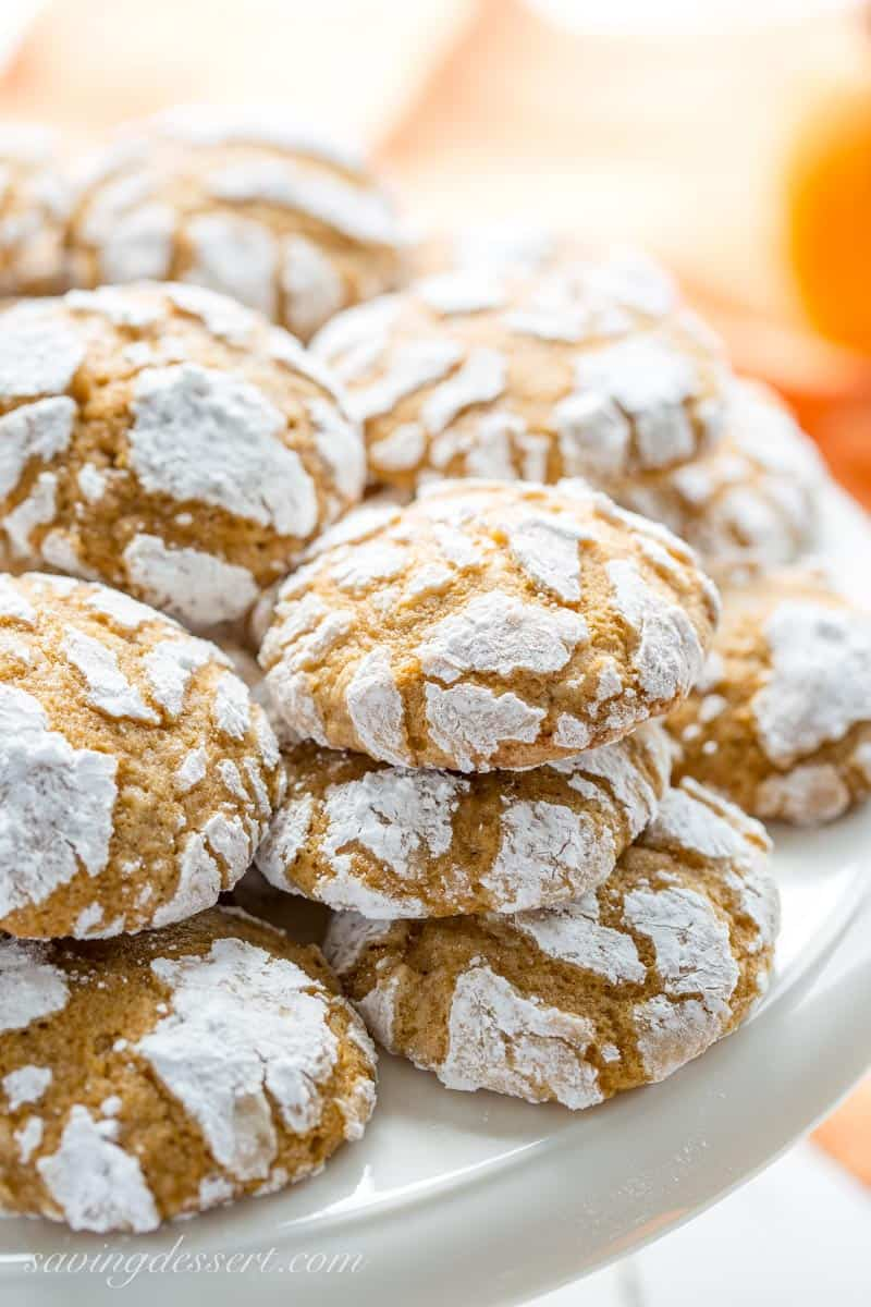 a tray of pumpkin crinkle cookies