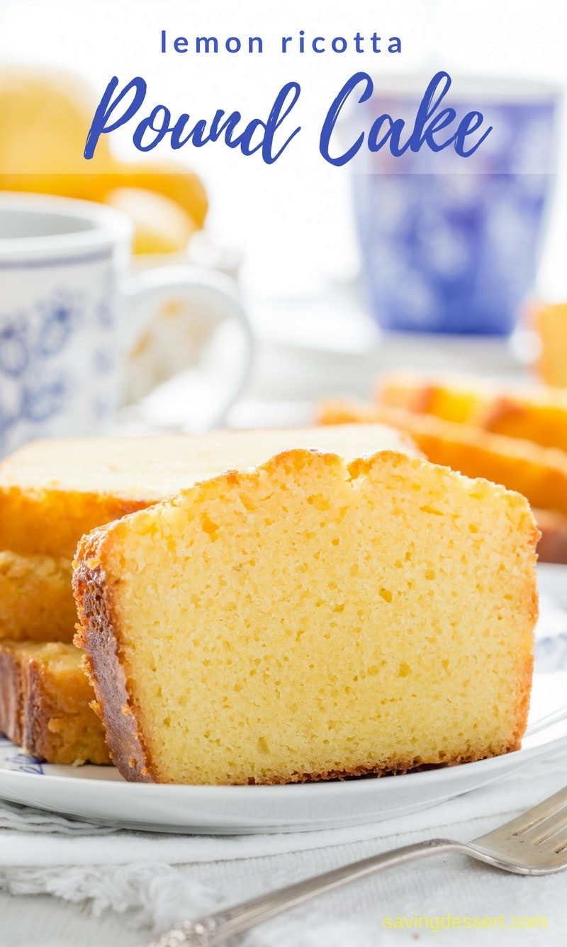 Easy Lemon Ricotta Pound Cake - a terrific little cake with plenty of lemon flavor and an amazing moist texture. Lightly glazed with an intense lemon syrup for plenty of bite and tang. Also bakes up beautifully with the addition of blueberries or raspberries! #savingroomfordessert #lemon #poundcake #ricottapoundcake #lemonpoundcake #cake #dessert #easypoundcake