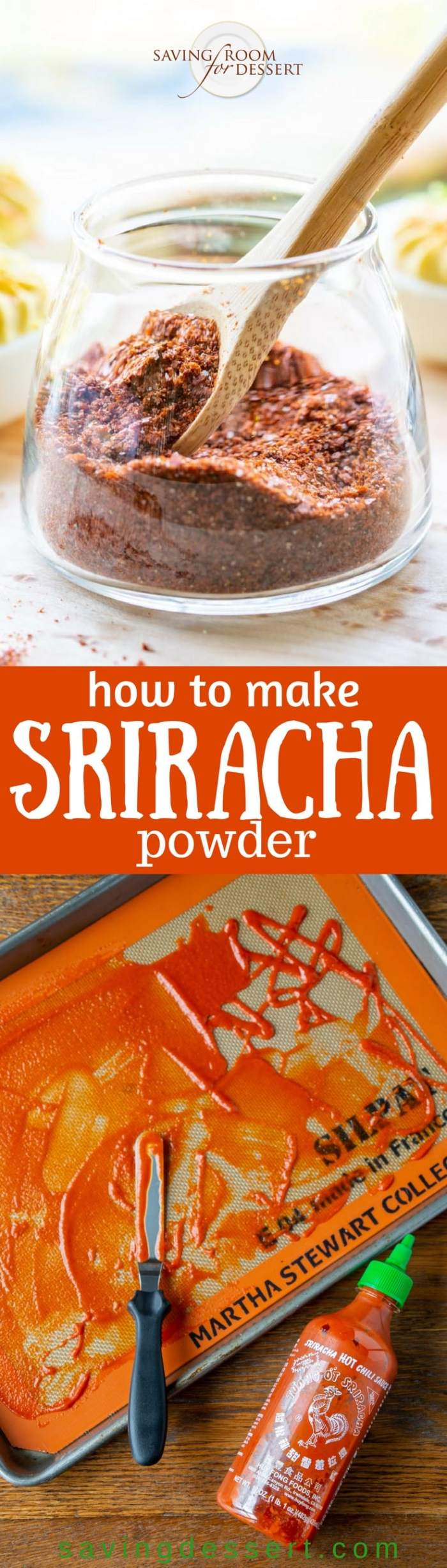 Easy homemade Dry Sriracha Powder Seasoning - intense, spicy, hot and flavorful, you're going to love this sprinkled on just about everything from grilled meats, to tacos, even eggs, vegetables and soups too! www.savingdessert.com #savingroomfordessert #sriracha #condiment #seasoning #spicy