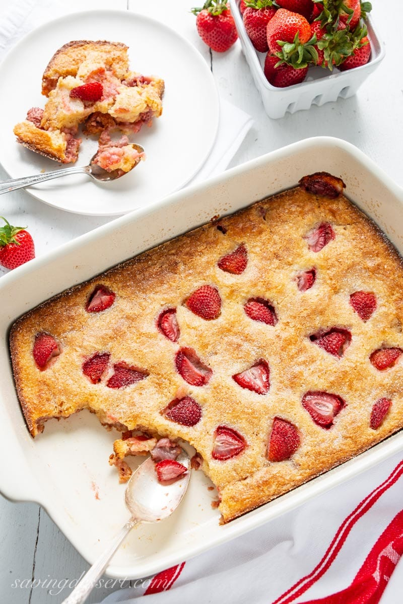 A pan of Easy Strawberry Buckle