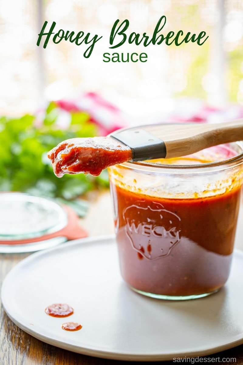 Easy Honey BBQ Sauce - with just a little heat this sauce is great as a marinade, or for basting and slathering on grilled chicken, pork or beef.#savingroomfordessert #honey #bbq #bbqsauce #honeybbqsauce #barbecue #grilling #grilled #barbecuesauce #sauce