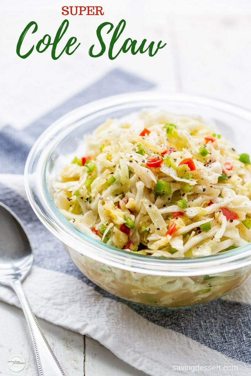 A bowl of super cole slaw with pimentos and peppers