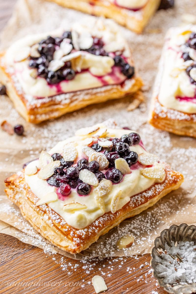 Blueberry Puff Pastry Tarts with Lemon Cream
