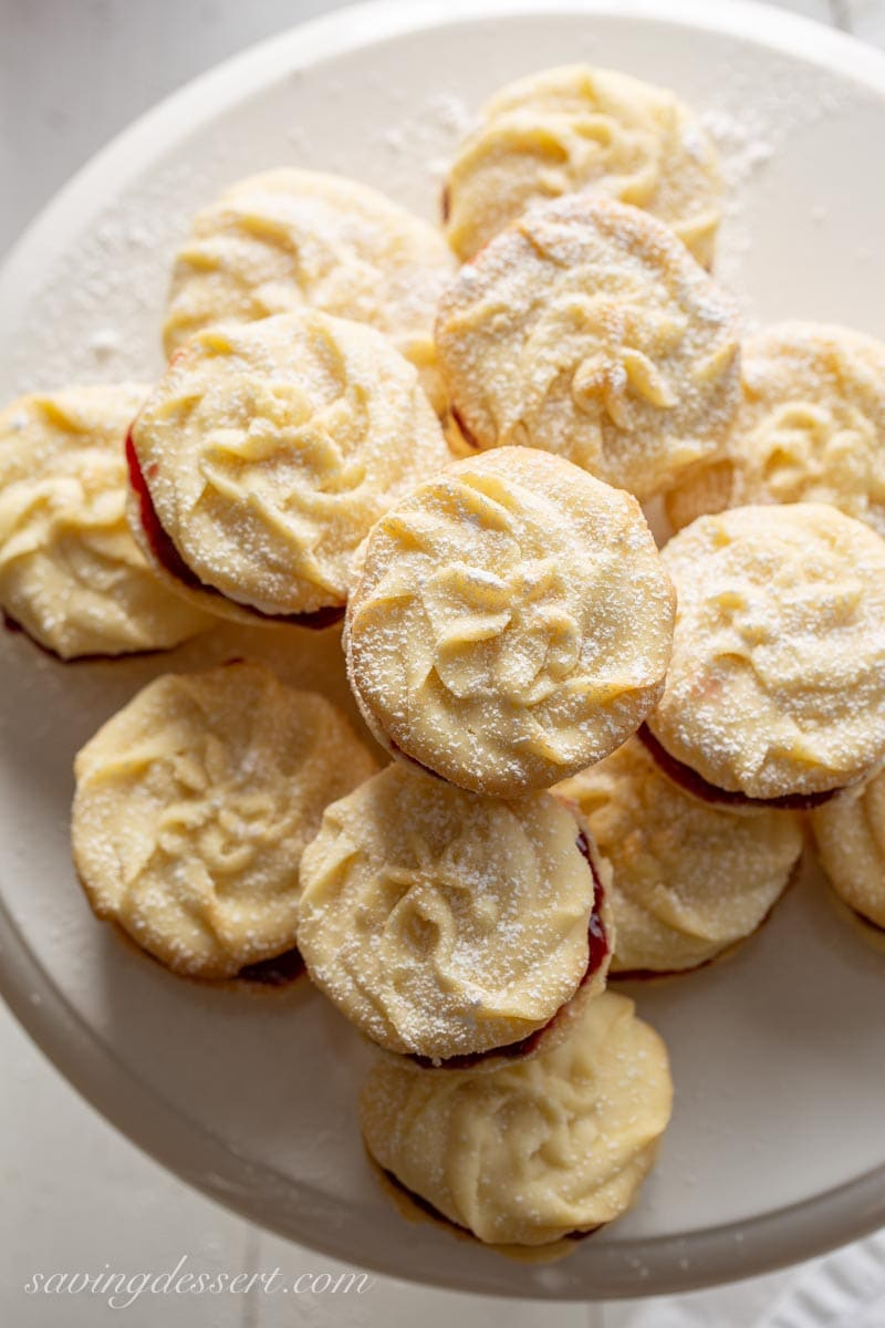 Overhead view of Viennese Whirls dusted with powdered sugar
