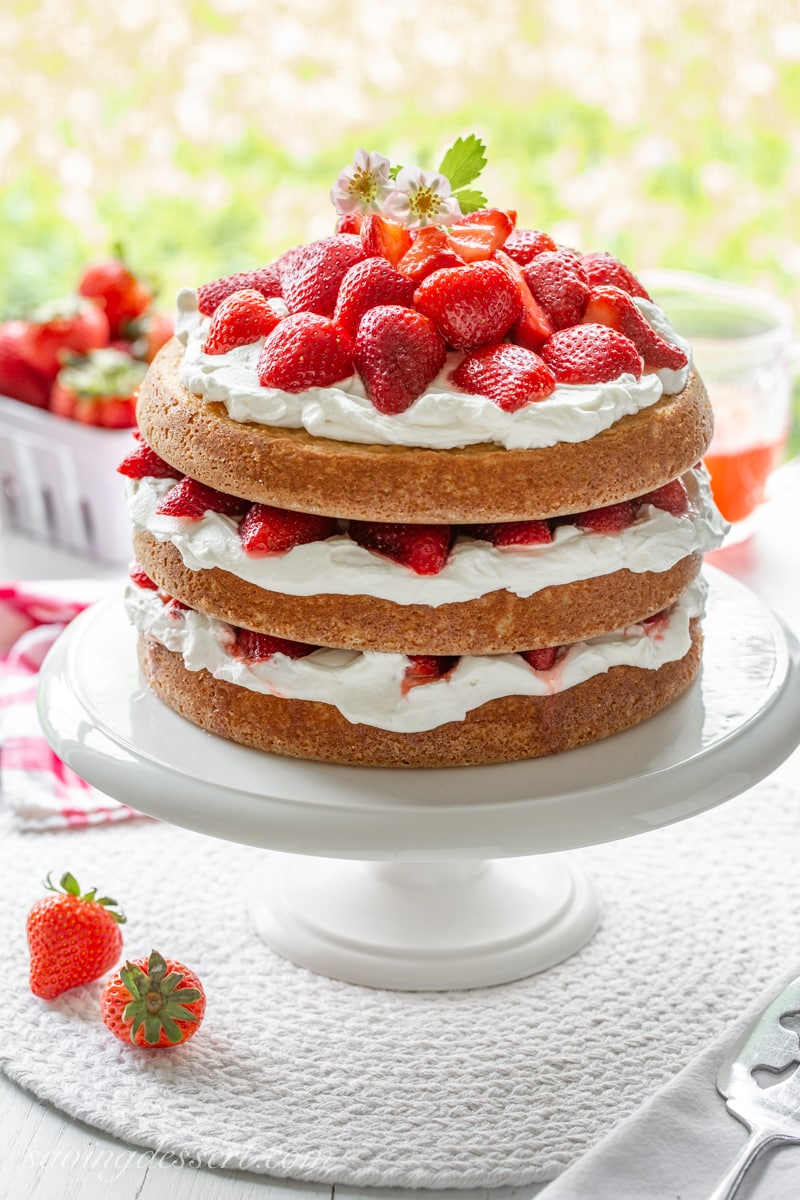 A three layer strawberry shortcake cake filled with cream and strawberries