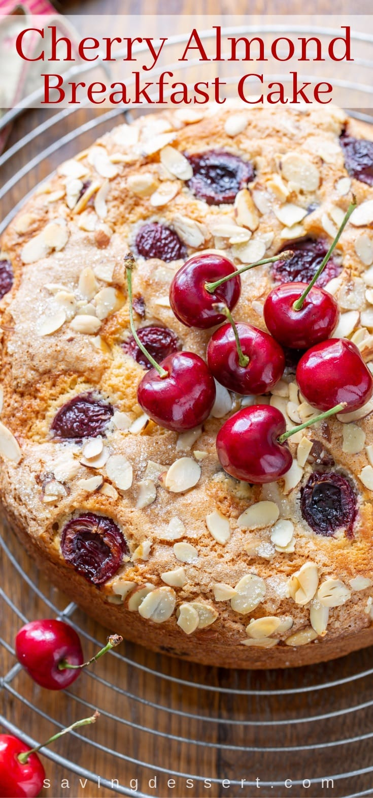 Fresh cherry breakfast cake