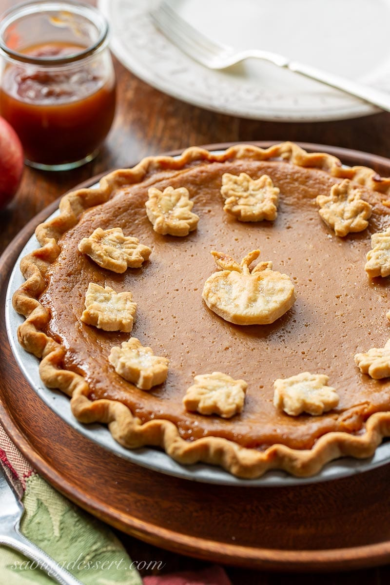 Apple butter pie decorated with pastry cut-outs