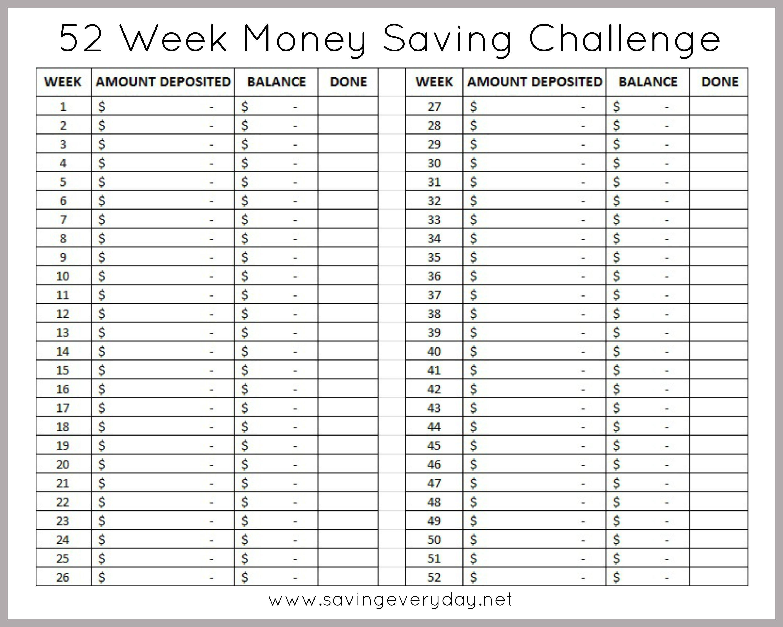 52 Week Money Saving Challenge Printable Sheet