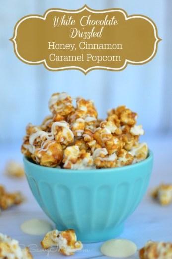 White Chocolate Drizzled, Honey Caramel Popcorn