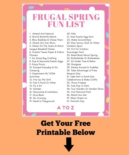 37 Frugal Spring Activities Fun List Printable