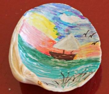 Painted Boat Scene on Seashell