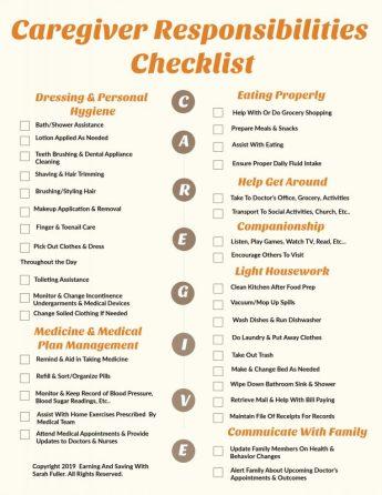 Caregiver Responsibilities Checklist