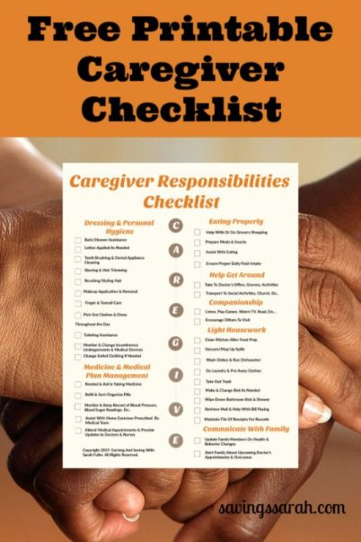 Free Printable Caregiver Responsibilities Checklist