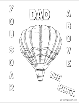 Father's Day Coloring Sheet Hot Air Balloon