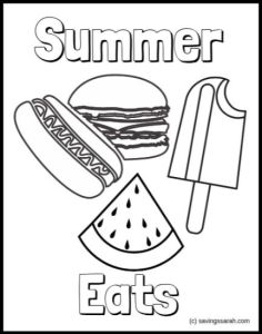 Summer Coloring Sheets Summer Eats