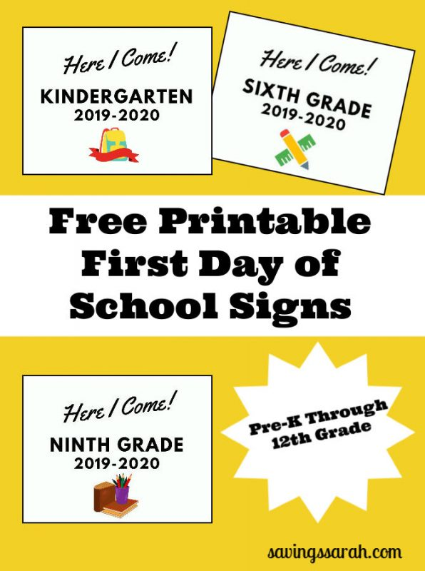 image regarding Free Printable Signs called Very first Working day of Higher education Indicators No cost Printables - Producing and