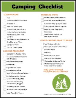 Free Camping Checklist Printable
