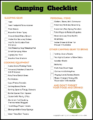 picture regarding Camping Food List Printable named Absolutely free Printable Tenting Listing - Generating and Conserving with Sarah