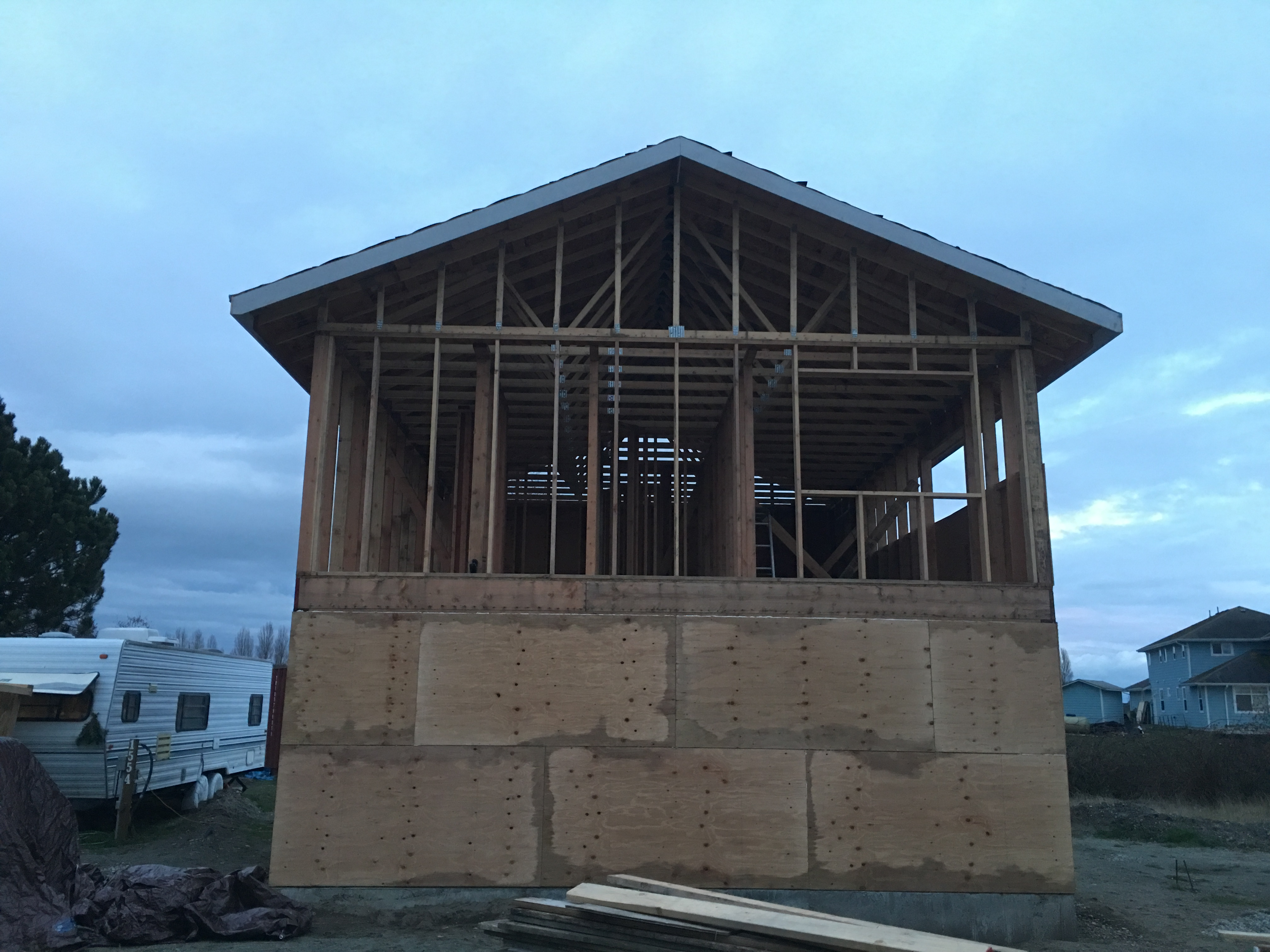 If I Had Attached It Earlier Before The Roof Was On Rain Would Have Soaked Everything From Above And Then Sheathing Blocked All Wind