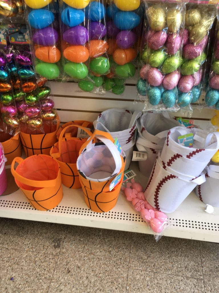 Easter baskets at the dollar tree