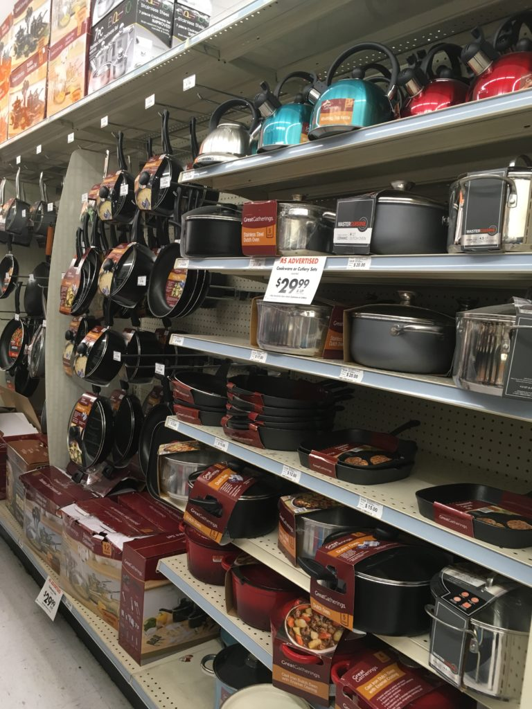 kitchenware and pots and pans from big lots