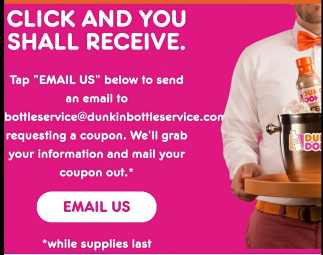 FREE Dunkin Donuts Bottled Iced Coffee Coupon