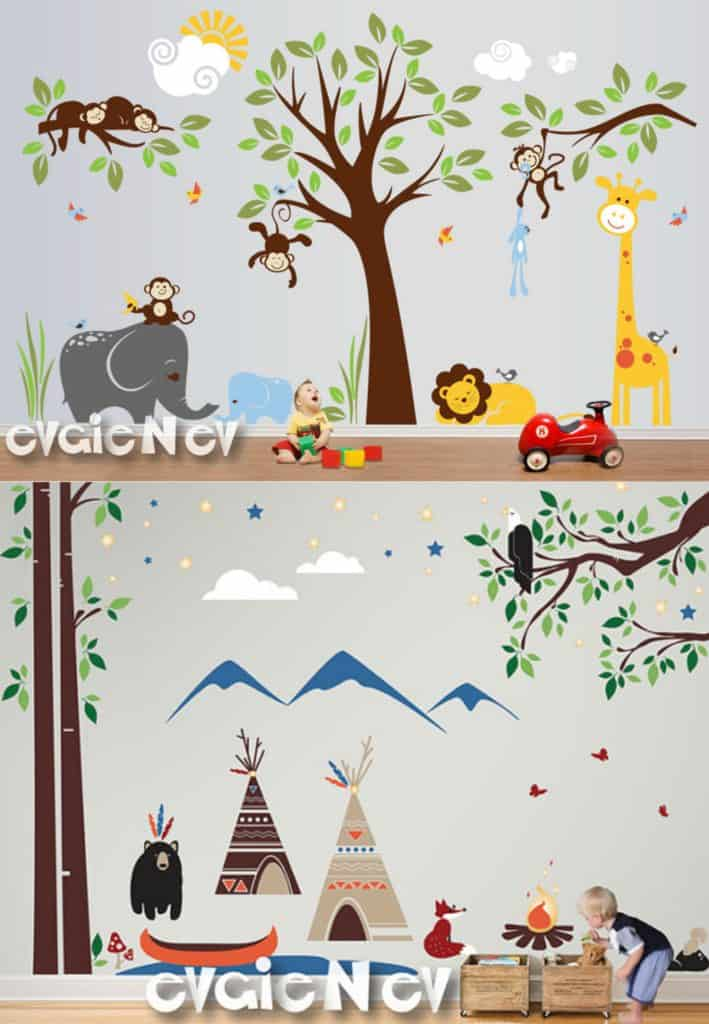 Stunning Pandas Nursery Wall Decals Tree and Five Little Bears with flying Balloon