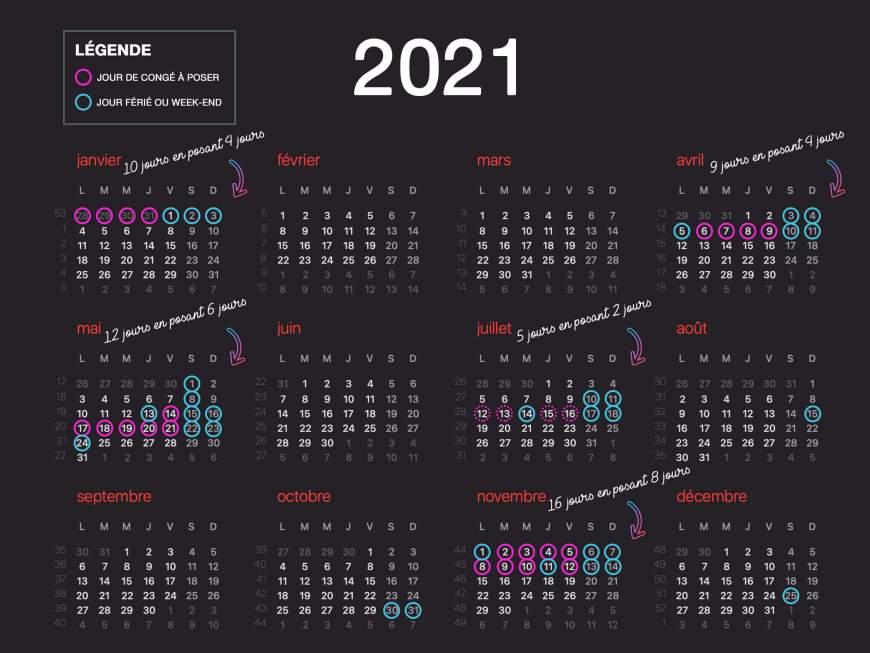 Calendrier des jours de congés à poser en 2021 pour avoir plus de vacances