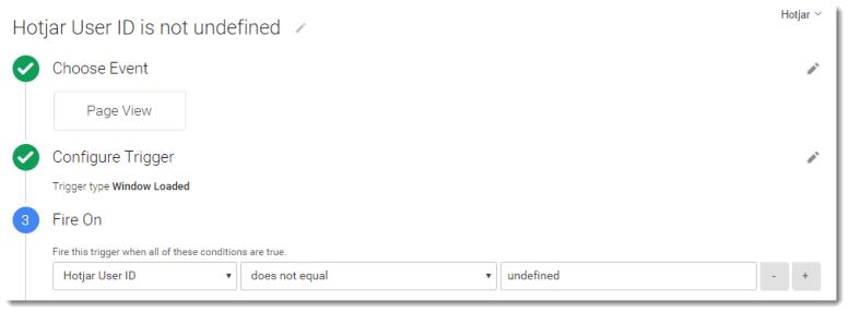 GTM Trigger - Hotjar User ID does not equal undefined