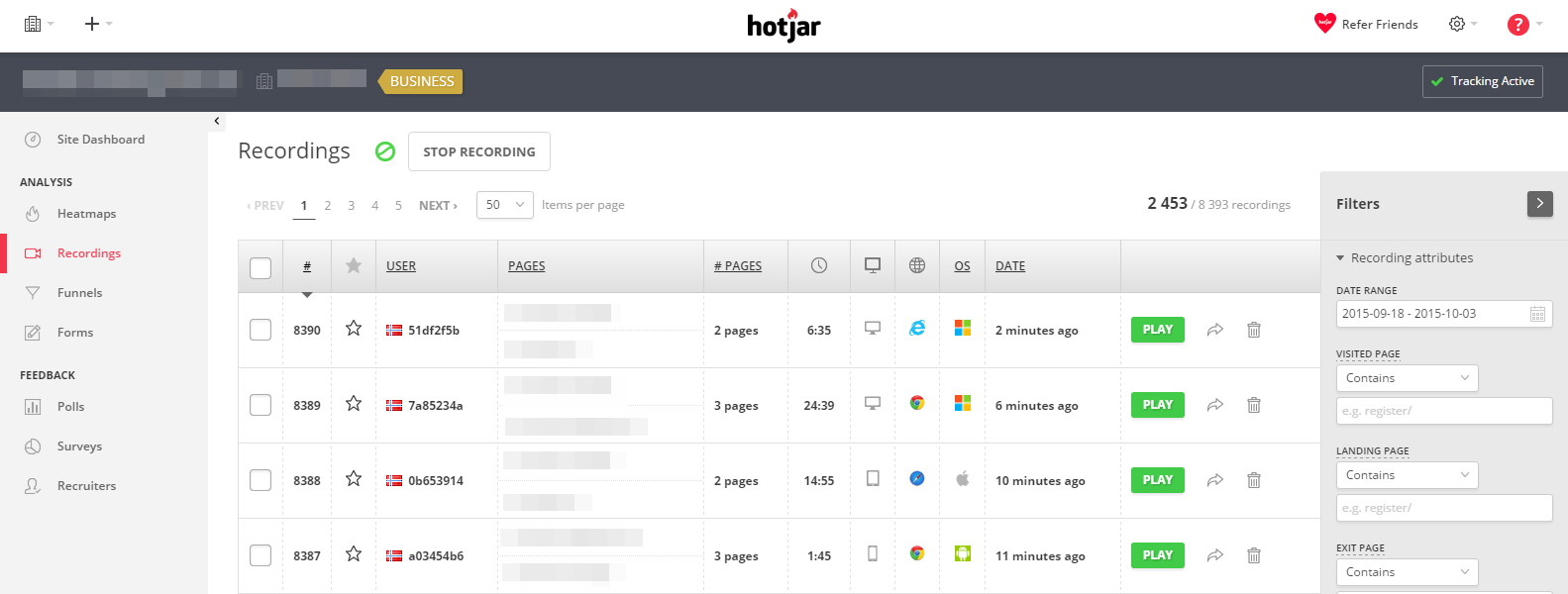 Hotjar Recordings Dashboard