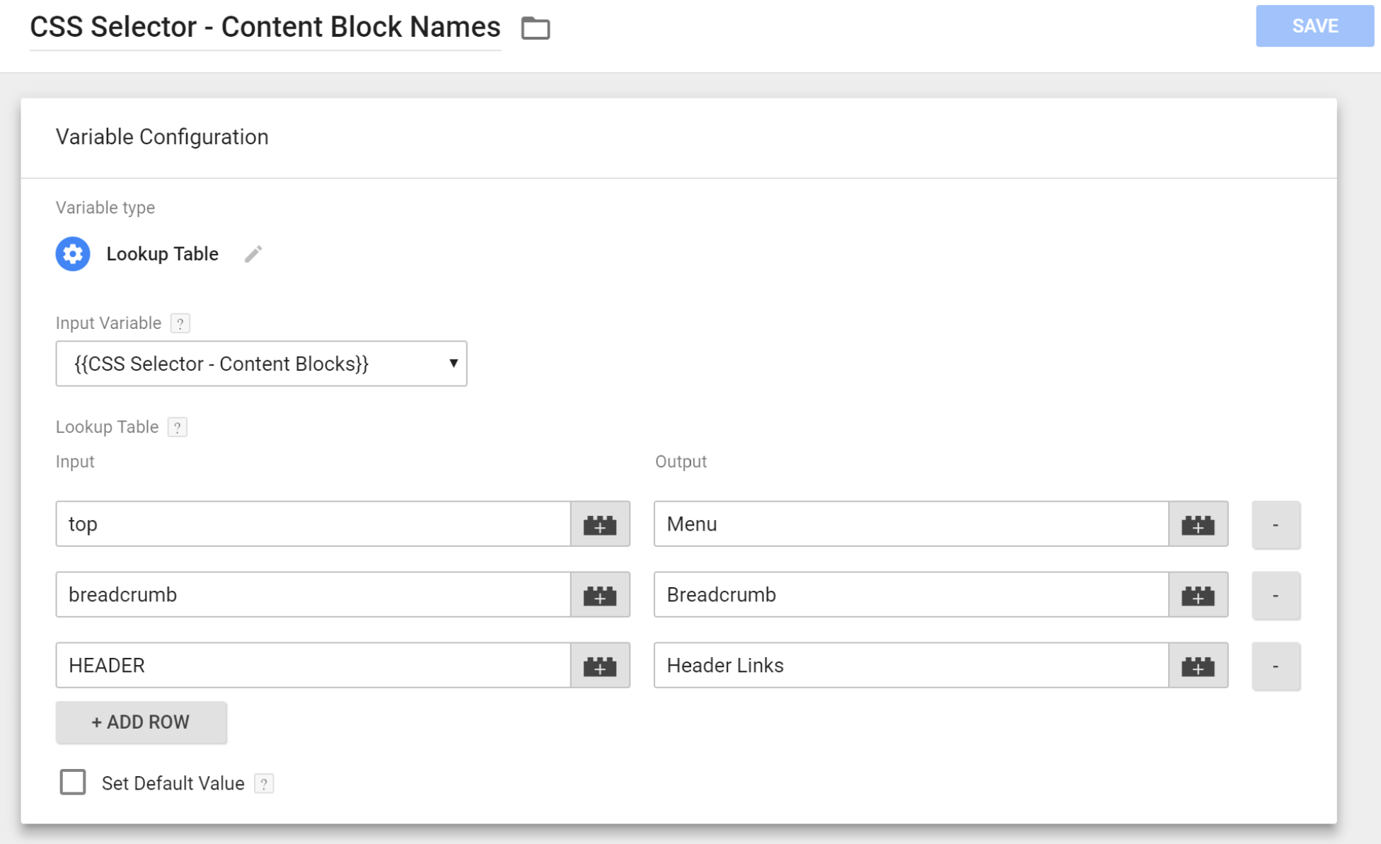 GTM Variable: CSS Selector - Content Block Names