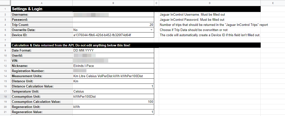 Google Sheets - Fill Out your Jaguar InControl Information