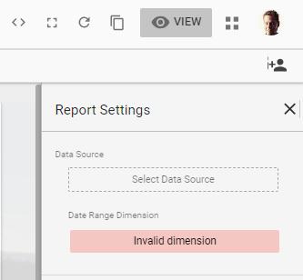Google Data Studio Report Settings: Select Data Source