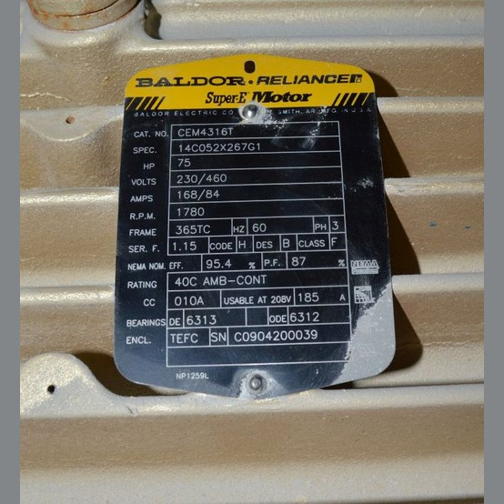3 Phase Motor Wiring Diagram For A C Baldor Reliance Super E 75 Hp Motor For Sale Used Baldor