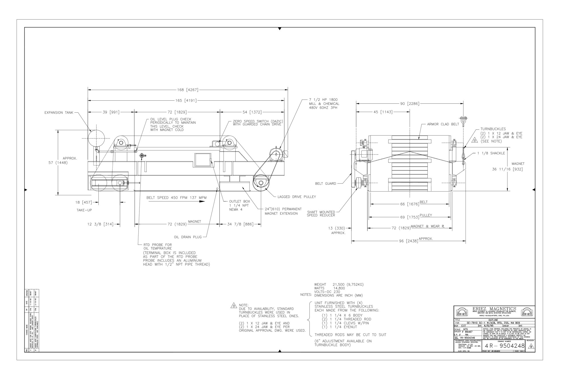 hight resolution of products more 2 230 auto electrical wiring diagram eriez 72 x 72 self cleaning cross belt