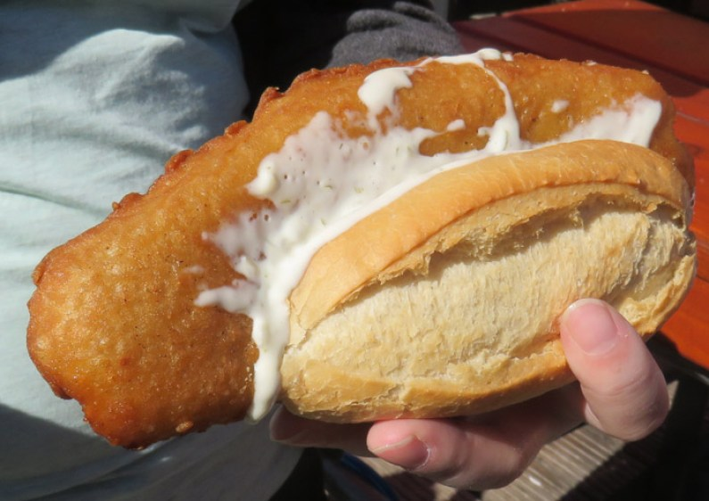 A fried fish sandwich, called a Fischbrotchen