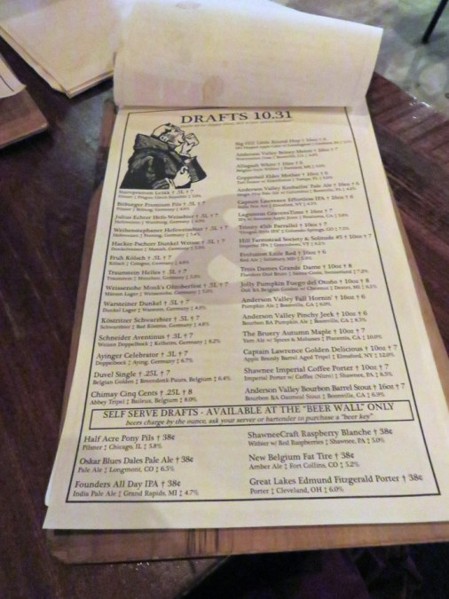 The extensive beer list at Bru Craft & Wurst