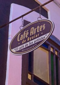 Cafe Artes is located on a small alley off of Aguilar Street