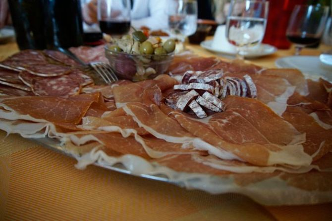 After pasta came an incredibly large plate of prosciutto and salame